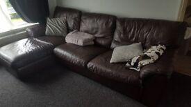 Corner leather sofa dark brown Natuzzi