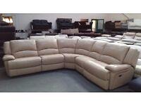 Ex-display Ronson pebble leather electric recliner corner sofa