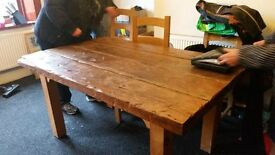 Bespoke, hand made, rustic style, oak dining table and 4chairs £450 ono