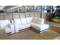 PRE OWNED Corner Sofa in White / Black Leather