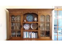 solid oak display cabinet/dresser top with lighting