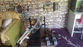 Excercise bench and weights