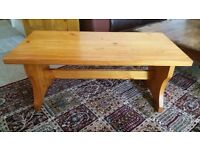 Bench style pine coffee table