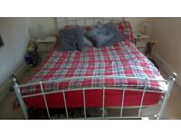 double bed frame white metal