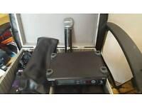 Shure SLX4 wireless receiver and SLX2 SM58 wireless mic plus flight case