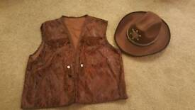 Fancy dress adult one size cowboy hat and waistcoat