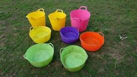 Plastic tubs for horse feed