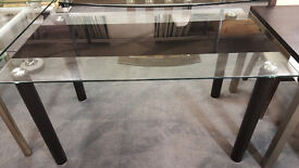 Glass Dining Table With Black Strip