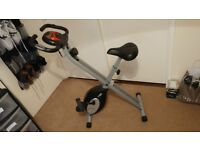 Exercise Bike for Sale complete with Pulse Rate sensors. Collapsible when stored.