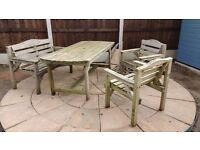 wood garden furniture, bench 2 x chairs and table