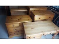 Assorted pine drawers x 3, desk and bookshelf