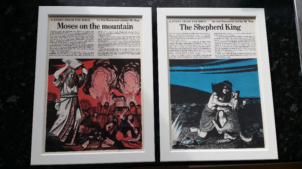 Set of 2 Retro 1970's prints of Bible Storys