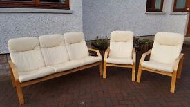 Leather and rubber wood conservatory couch and chairs