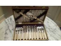 Antique Immaculate Bone Handled ANTIQUE Set Cutlery