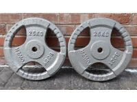 25KG CAST IRON TRI GRIP OR YORK WEIGHT PLATES