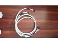 QED bi wire silver spiral speaker cables x 2