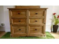 Very large mexican pine chest of drawers
