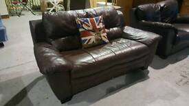 Brown leather 2 seater sofa can deliver 07808222995