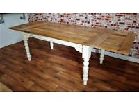 Turned Leg Farmhouse Rustic Hardwood Extending Rustic Dining Table - To Seat 6 - 12 people
