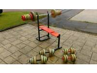 Weights bench and 100kg weight