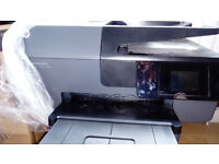 used HP6830 printer plus cartridges, cables, manuals, disc: scans, prints (colour a bit streaky)