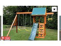 Climbing frame with swings & slide