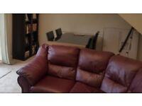 5 seater red leather corner sofa