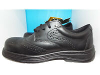 Arco Black Leather Safety Shoes With Puncture Resistant Midsoles Size 7/41 New With Tags