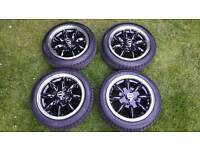 "JBW 13"" Minilight Alloy Wheels in Black with Chrome Rims for Classic Austin Rover Mini & MG Metro"