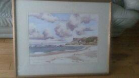 Beautiful large Sam Mc Larnon water colour of Antrim coast