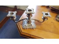 Ornamented Silver-plated Three-piece Candlestick Holder in Good Condition