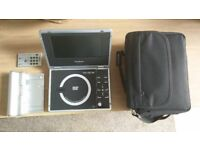 """Goodmans Portable DVD player with 7"""" LCD screen, battery pack, remote, carry case and adapter"""