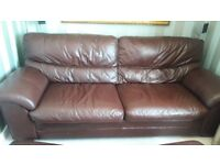 3 Seater Leather Sofa, 1 Chair & 2 Foot Stools with Storage