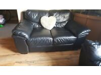 2 black leather sofas 1 x 3 seater 1 x 2 seater in Italian leather