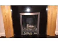 Used Gas Fireplace with Marble & Wood Surround