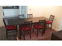 IKEA 6-person Extendable table BJURSTA including 6 matching chairs