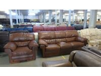 PRE OWNED Sofitalia Pavia 3 Seater + Armchair in Tan Leather