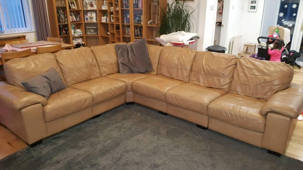 Large Tan Leather Corner Sofa