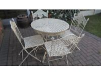 Wrought Iron Patio Table And 4 Chairs - Folding