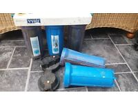 """Pond (or similar) 10"""" Water Filter Pods x 5, Bracket, Spanner+new fittings. REDUCED to £30"""