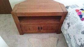 Rustic solid oak corner tv unit