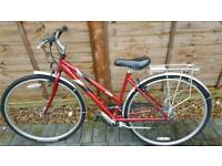 Second hand red/black/silver ladies bike