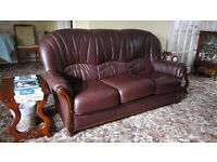 Settee's, burgundy leather (2 no identical 3 piece) - PERFECT CONDITION !!!