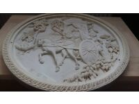 Large Chinese Hand Carved Stone Disk Shape with Chariot Design