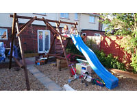 garden swing with slide and rope steps