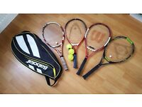 4 tennis rackets, some balls and a case