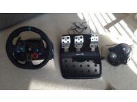 Logitech G29 steering wheel and gear stick