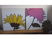 Two plant paintings on Canvas