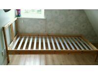 Ikea pine single slatted bed