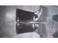 Black suede knee boots